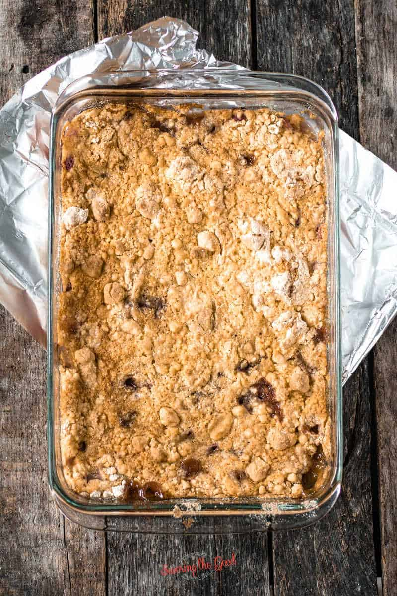 fully cooked Rhubarb Dump Cake in a glass 9x13 pan