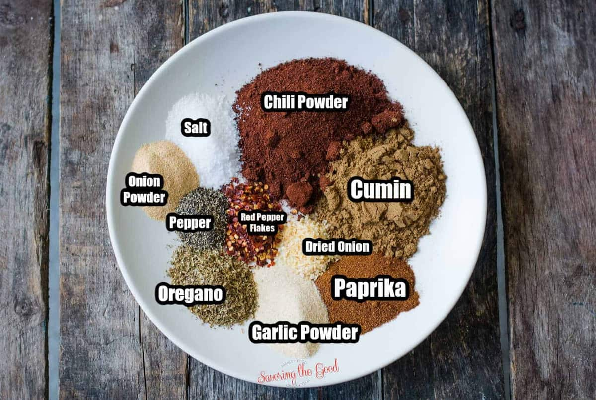 keto taco seasoning ingredients on a white plate with text overlays
