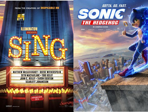 sonic the hegdehog and SING movie posters for regal summer movie express 2021