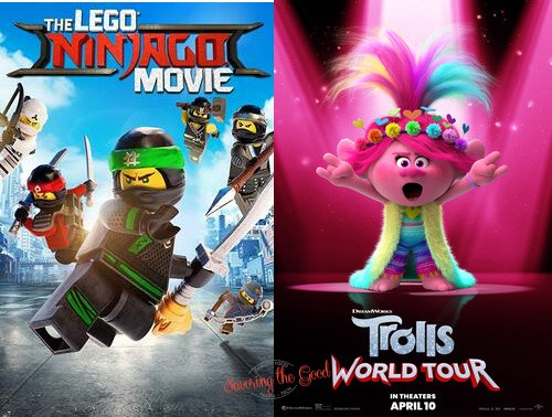 summer movie experss 2021 trolls world tour and lego jinjago posters