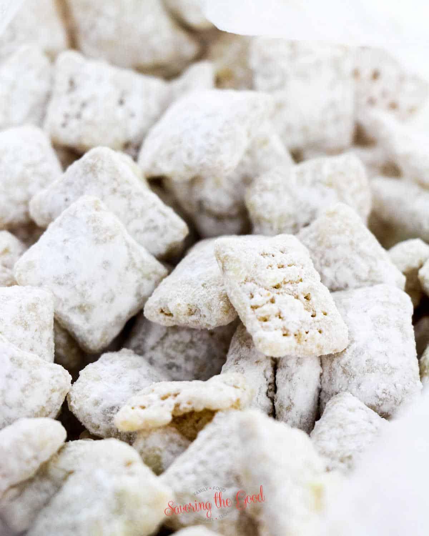 Cookies and cream muddy buddies clos shot