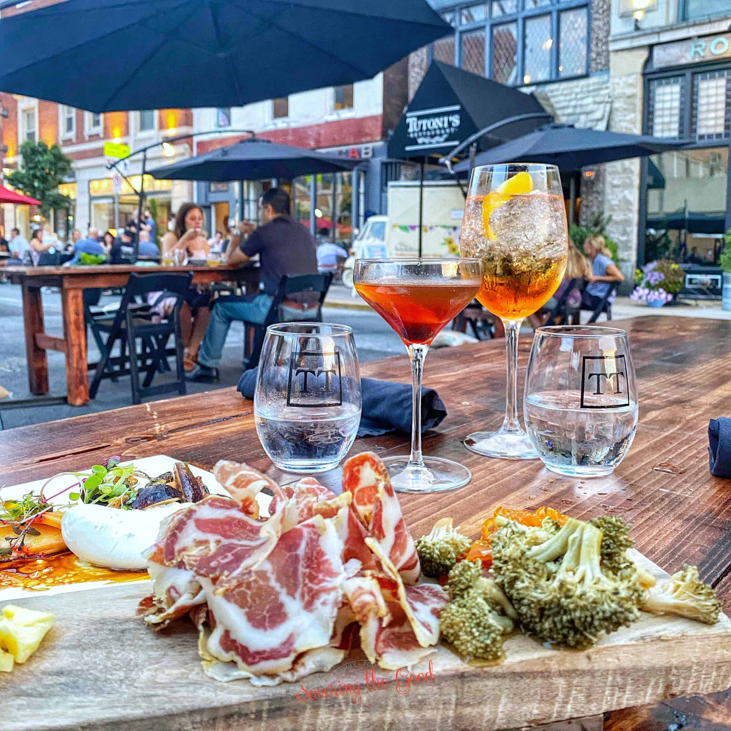 charcuterie board at Tutonis in york pa outdoor seating