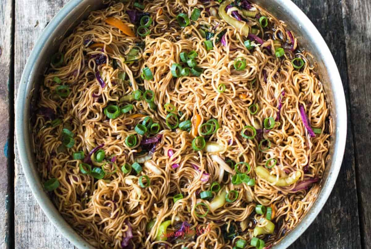 Ohana Noodles in a stainless steel pan