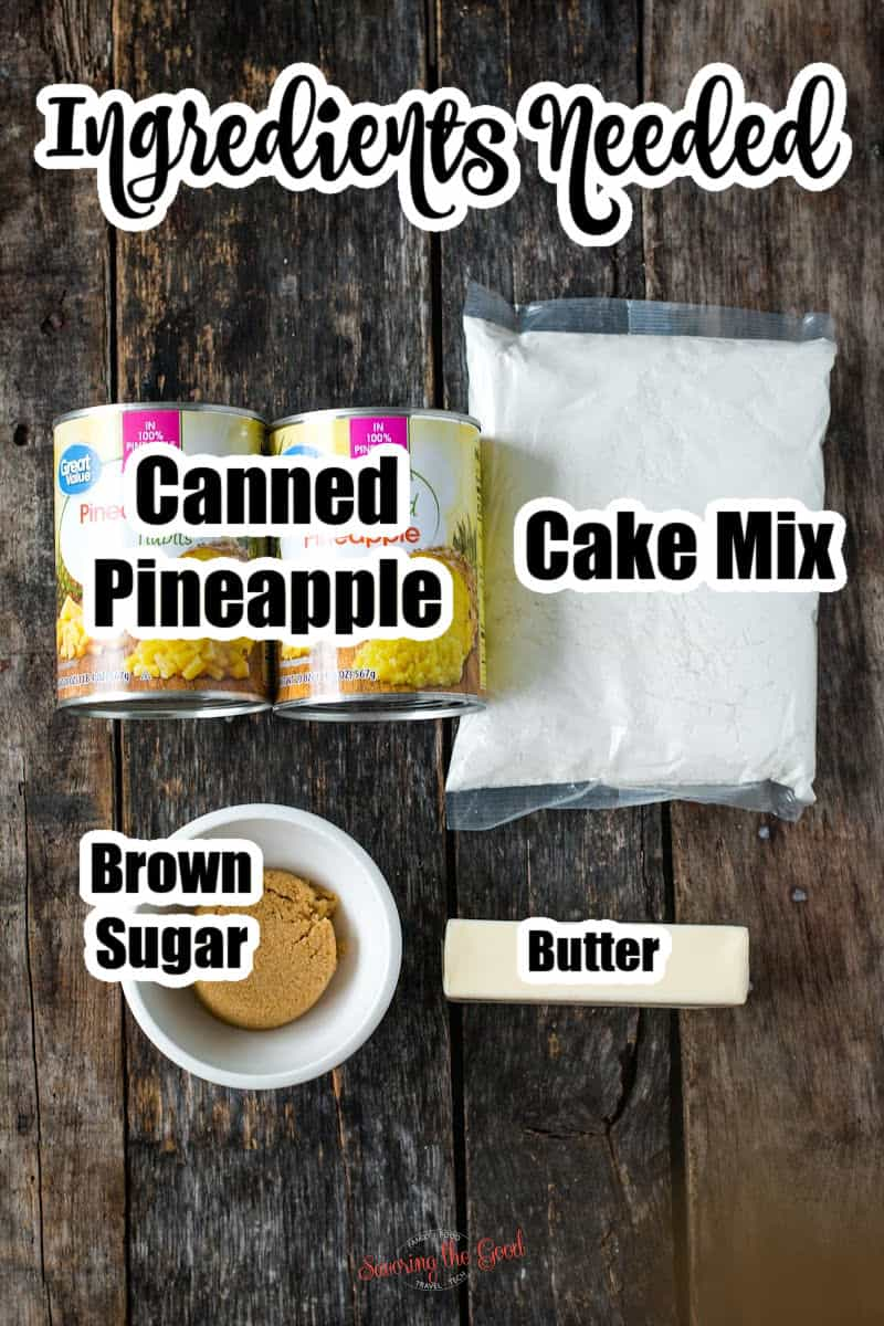 Pineapple Dump Cake ingredients on a wooden surface