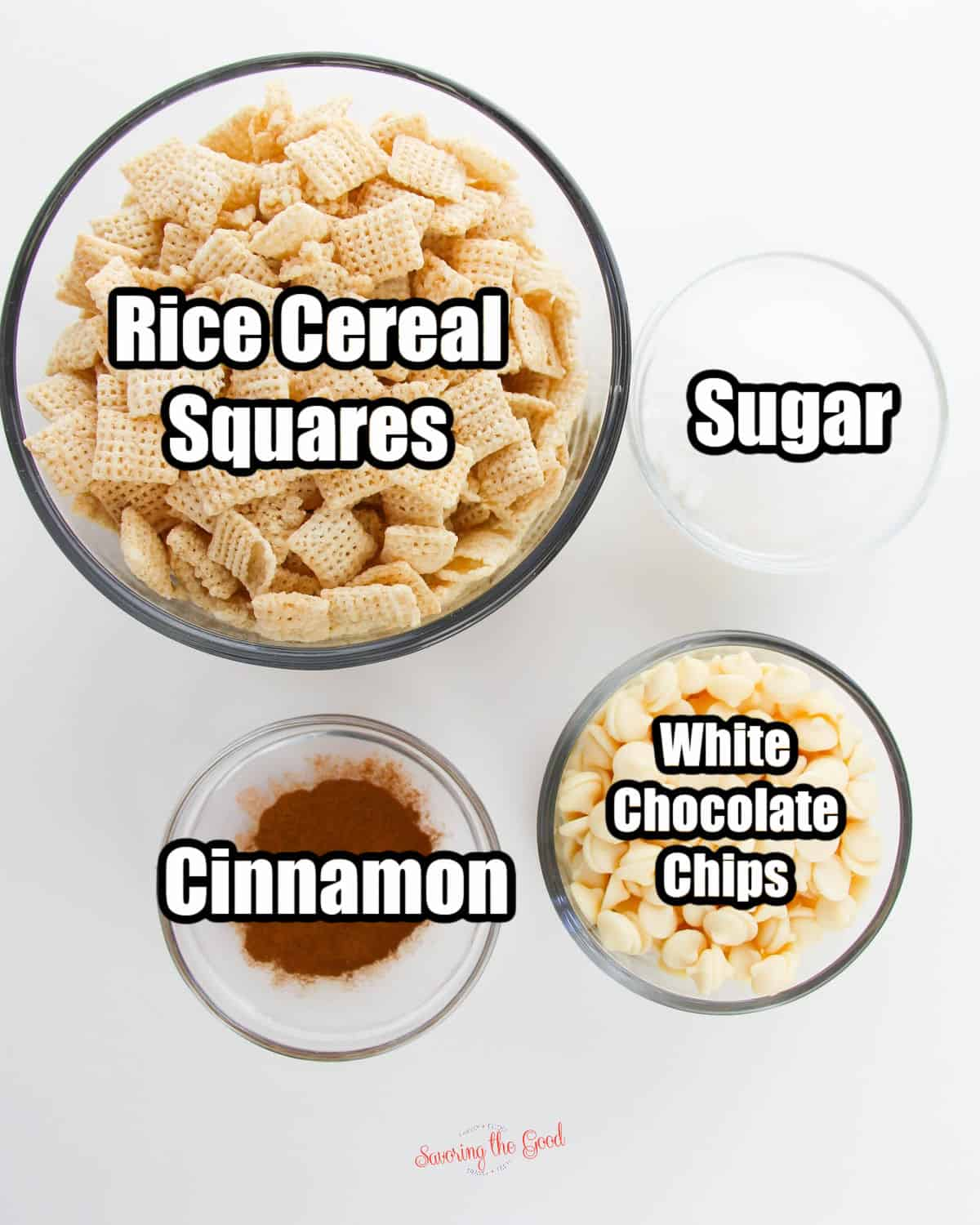 Snickerdoodle muddy buddies ingredients in bowls with text overlays