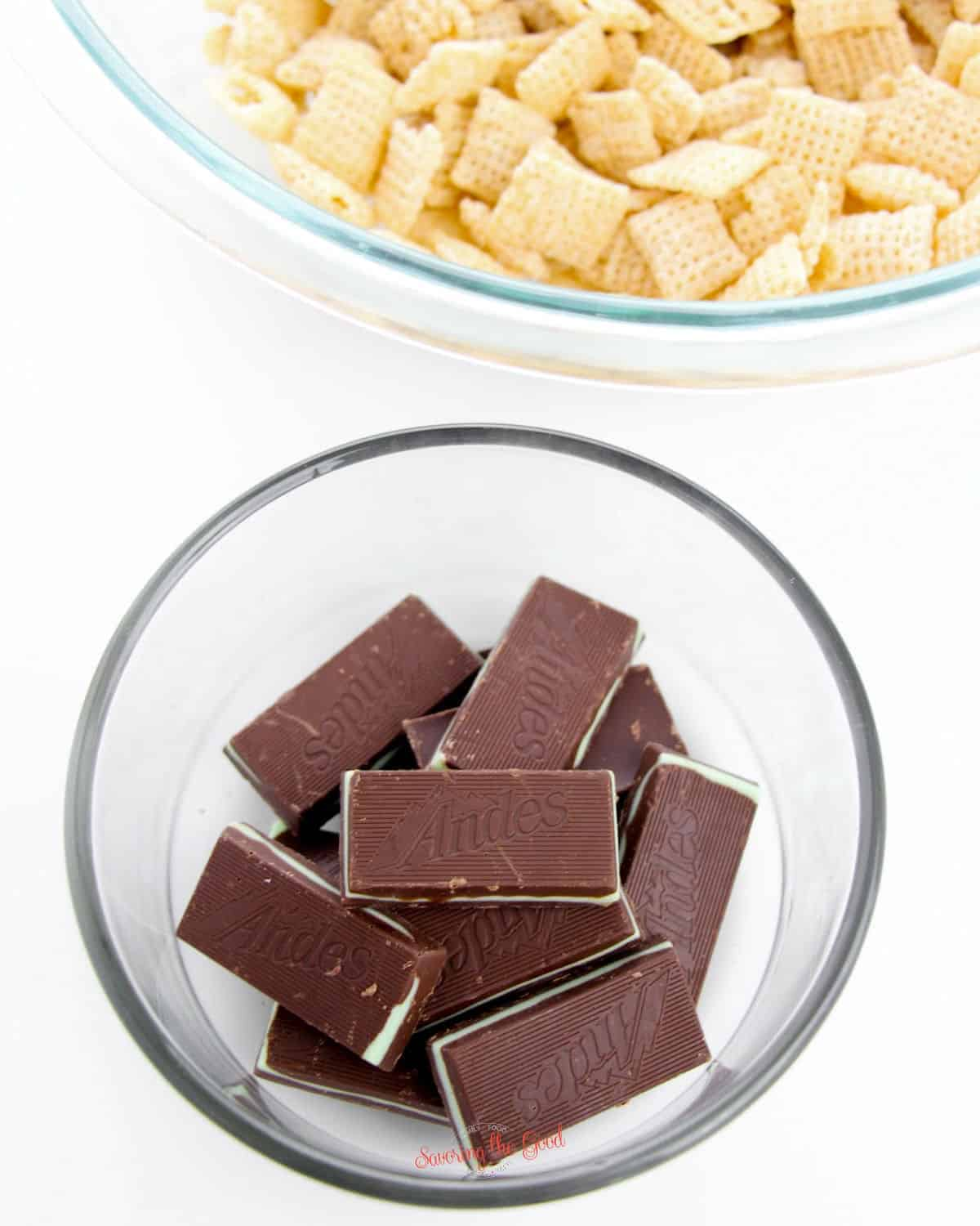andes candy and chex cereal