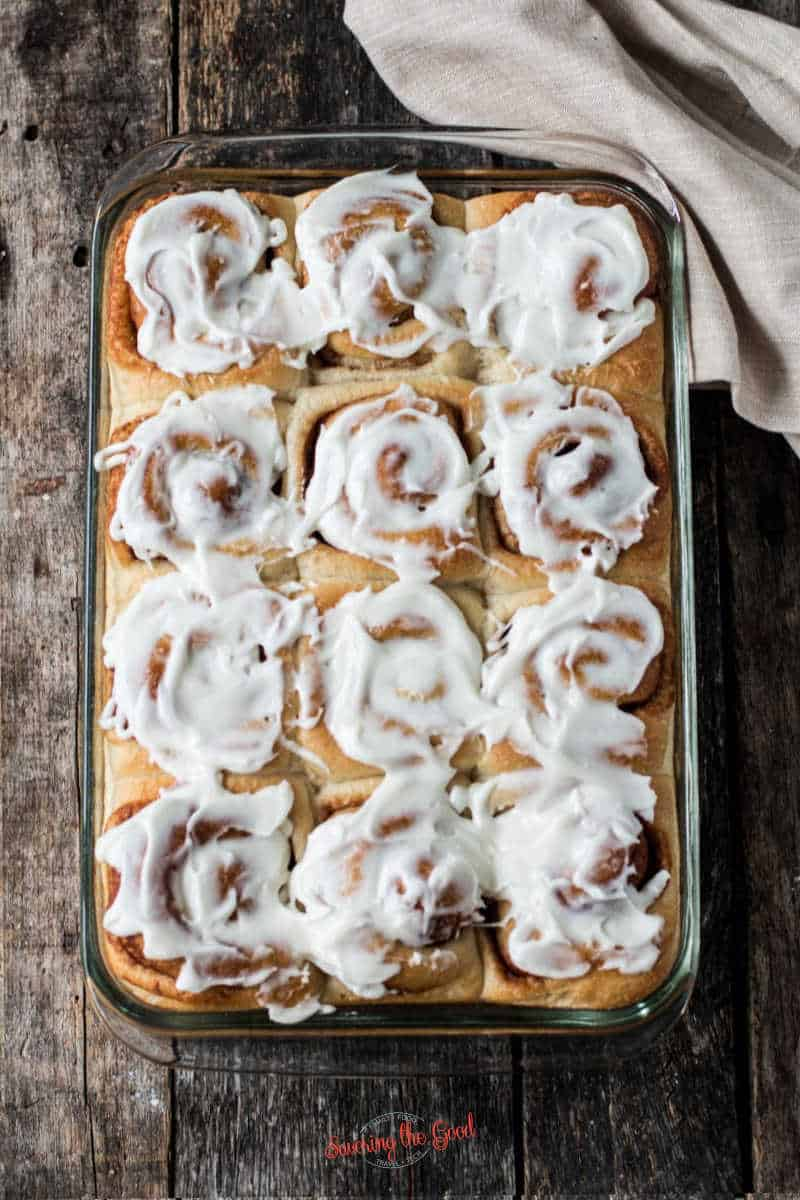 full pan of Rhodes Cinnamon Rolls with icing on top