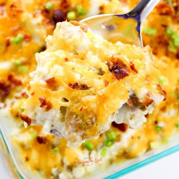 twice baked potato casserole recipe square image