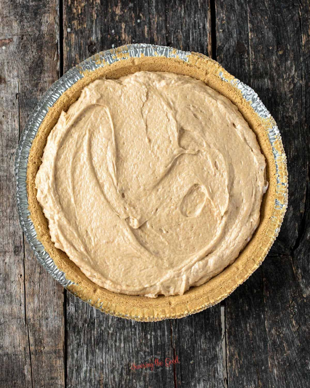 Peanut butter pie no bake in a graham cracker crust, top down image