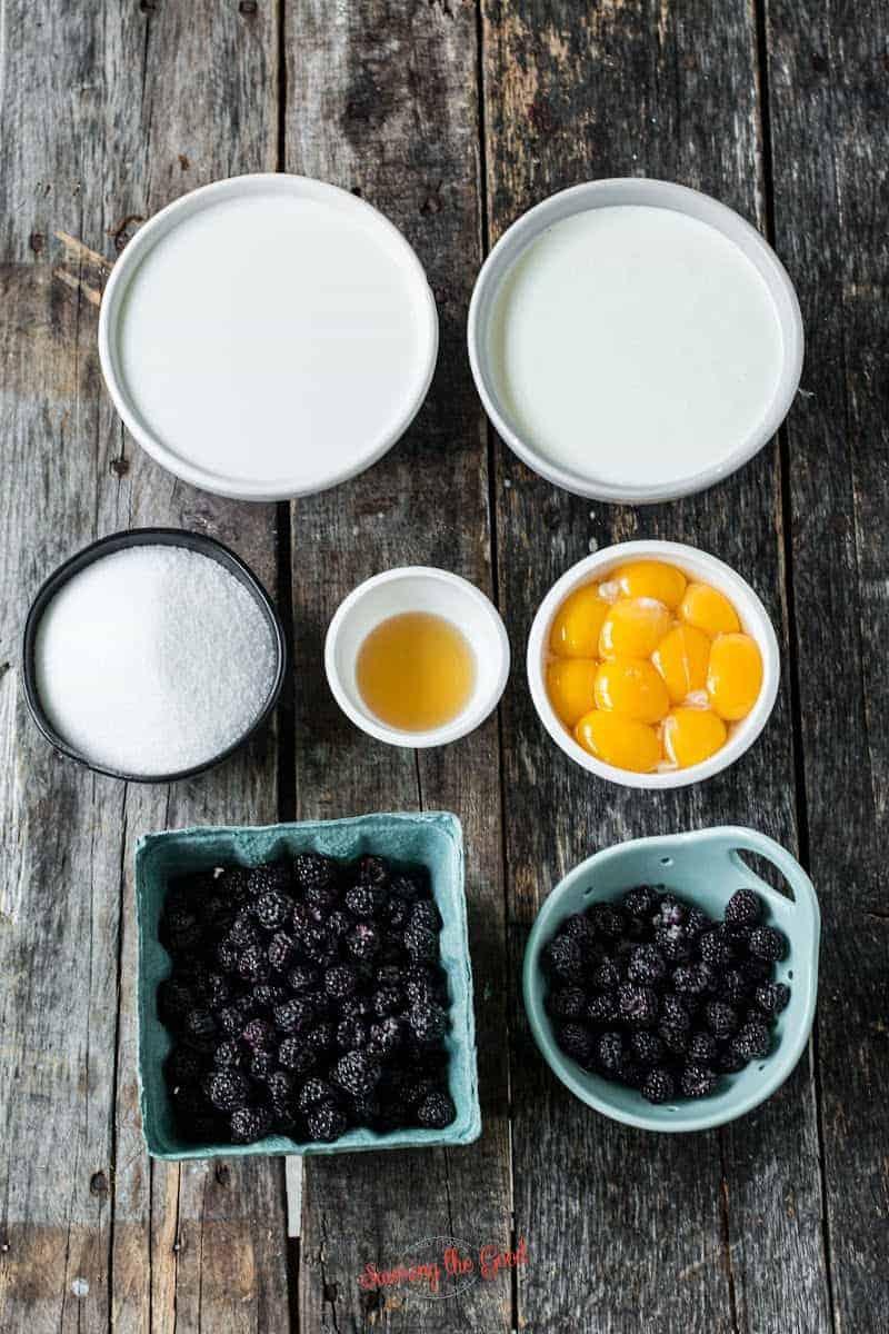 black raspberry ice cream ingredients in bowls