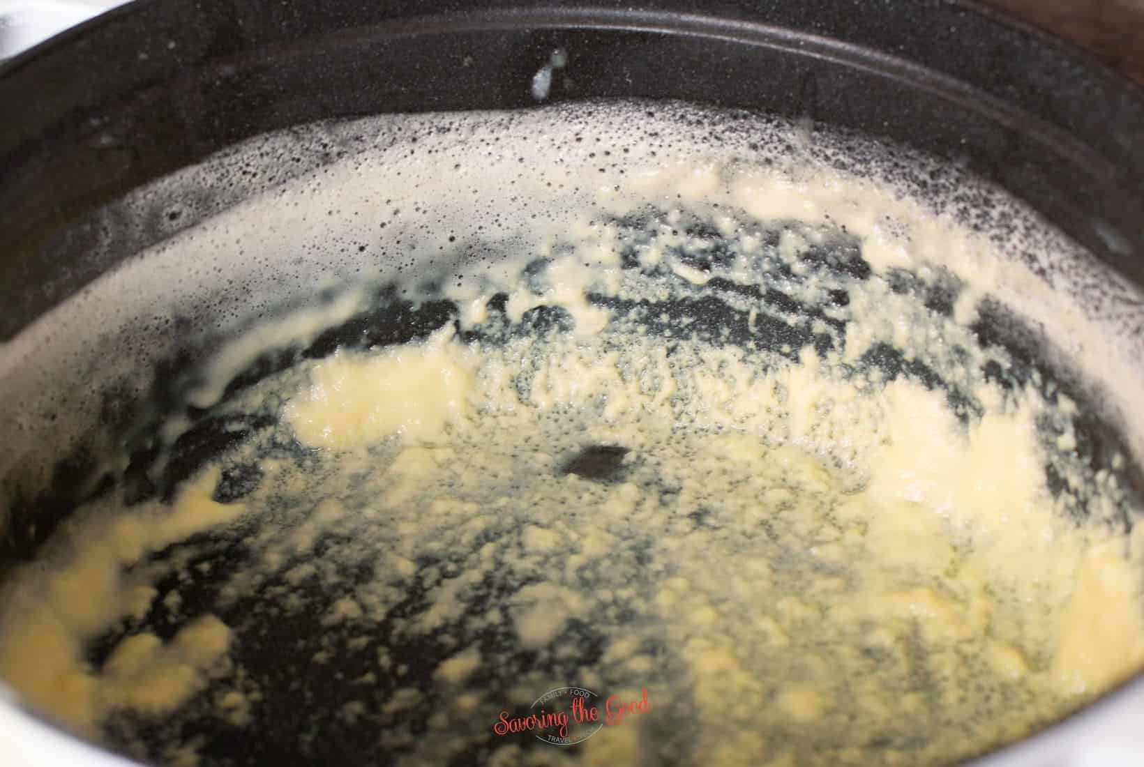 ice cream base that curdled around the edge of a pan