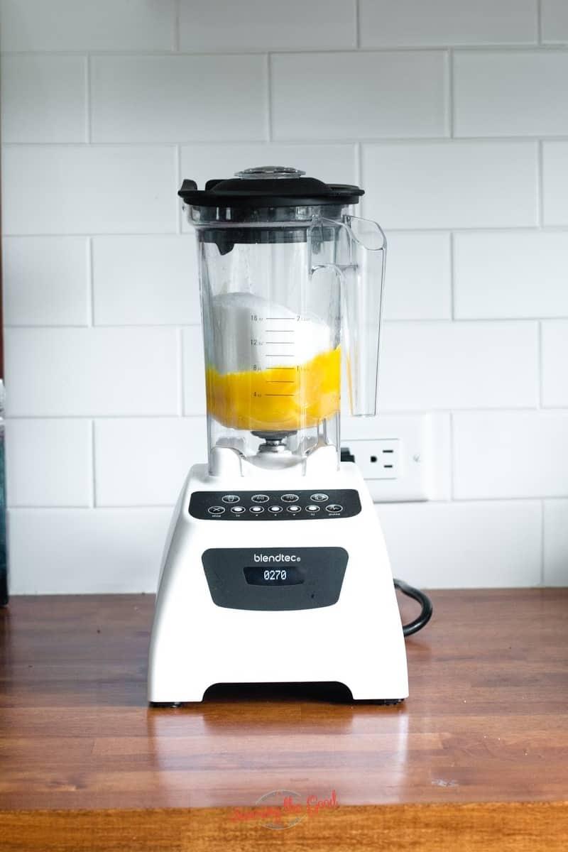 sugar and egg yolks in a blendtec blender