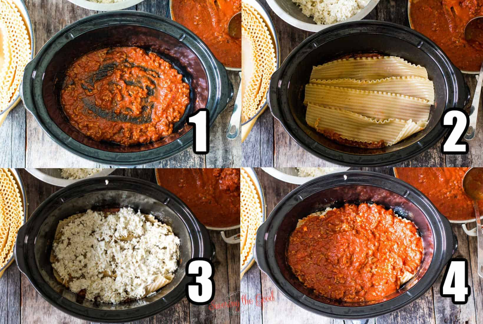 4 images of the steps of layering the lasagna ingredients in to the crockpot, numbers calling out the steps