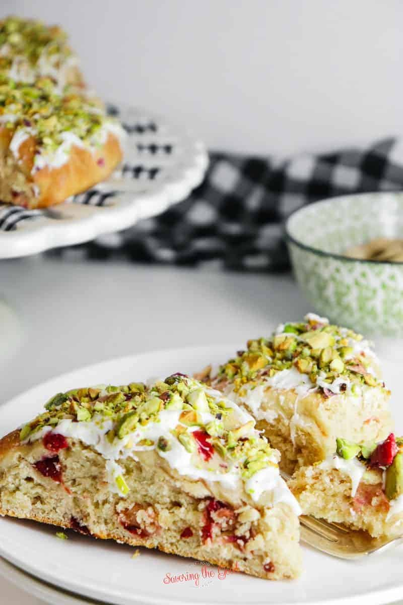 Cherry Scones on a plate with golden fork