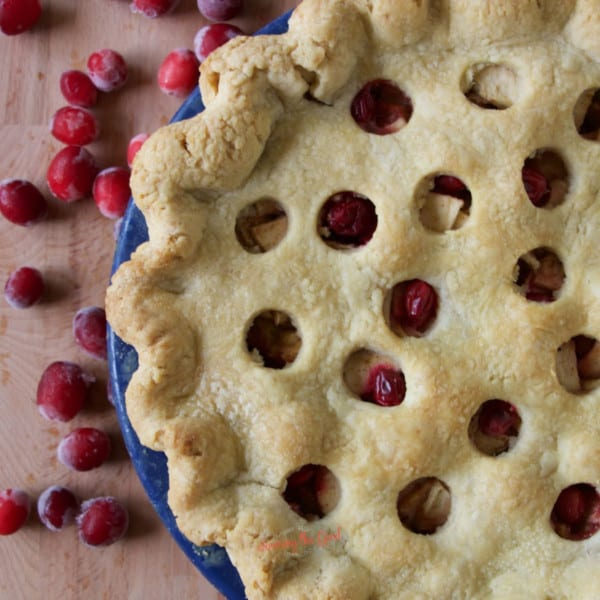 cranberry apple pie square image with cranberry garnish