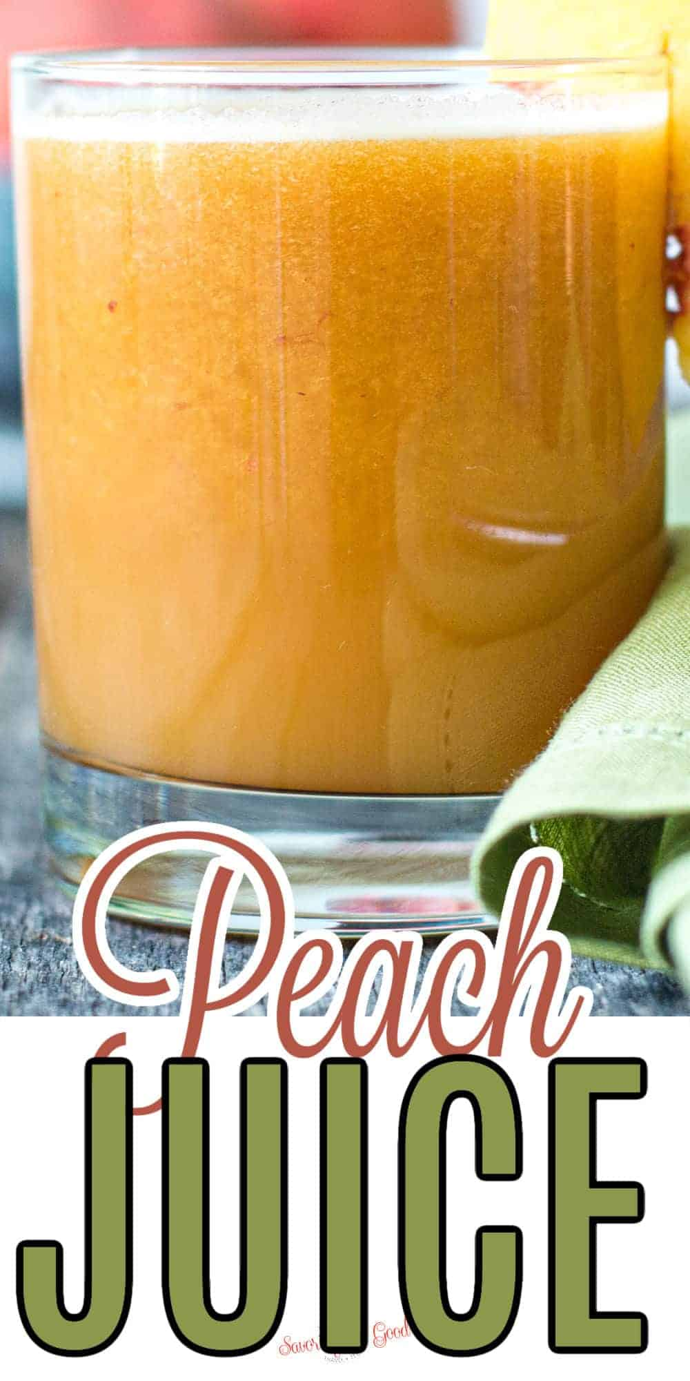 peach juice pinterest image 2 with text call out at the bottom of image