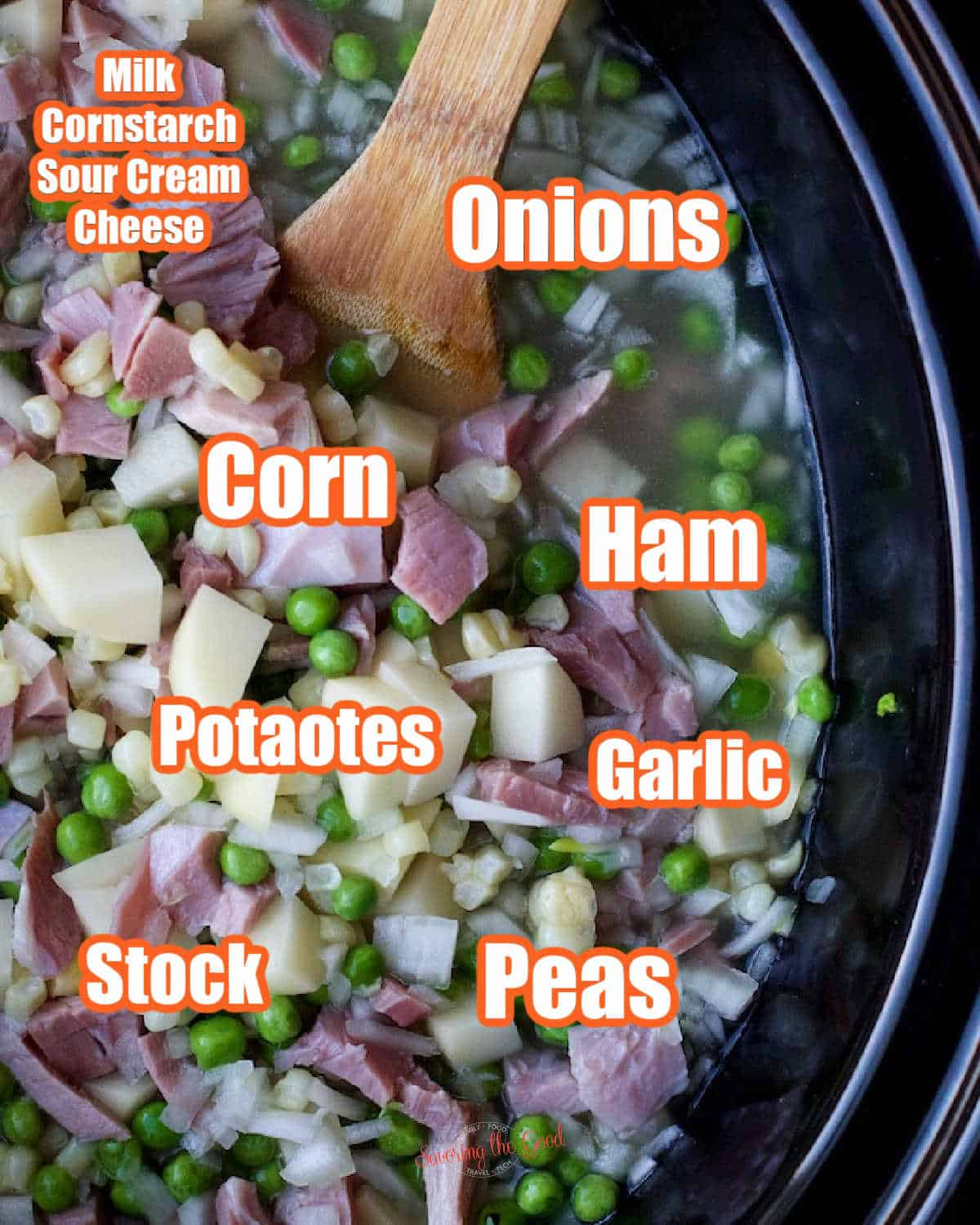 ingredient in a crockpot with text overlay calling out the individual ingredients.