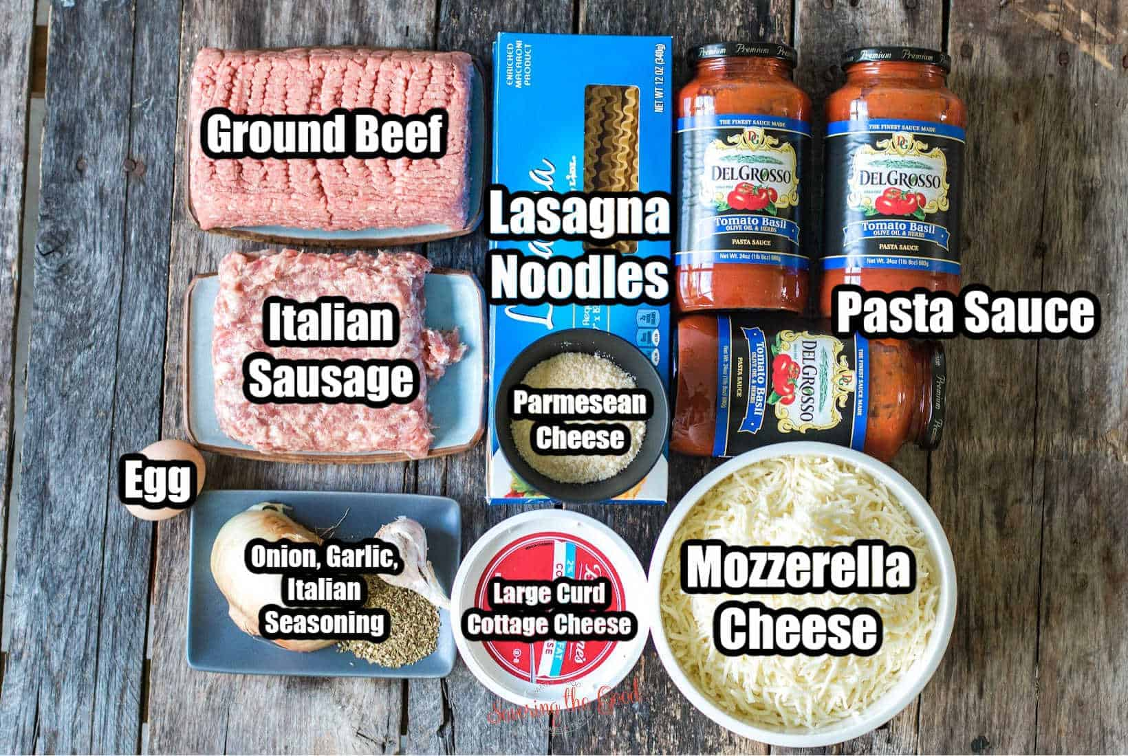 ingredients on a wooden surface, in bowls and on plates, with text overlay labeling the ingredients