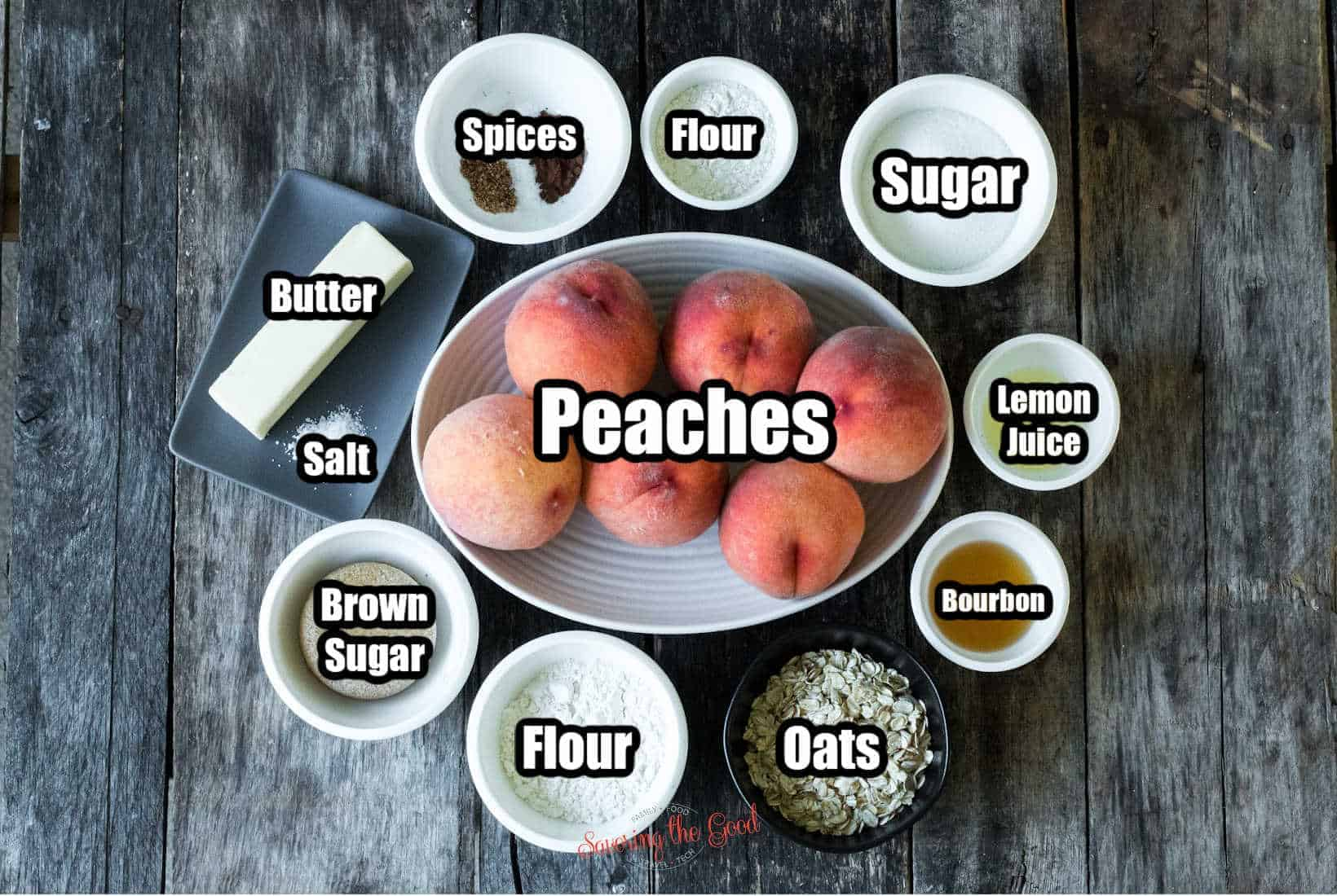 peach crumble ingredients in bowls with text overlay labeling the ingredients