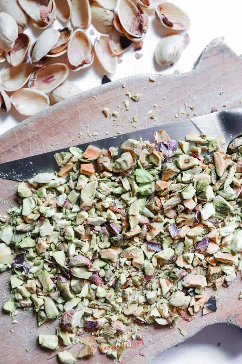 shelled pistachios being chopped