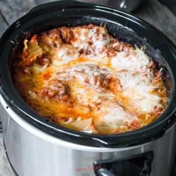 square image of a crockpot lasagna.