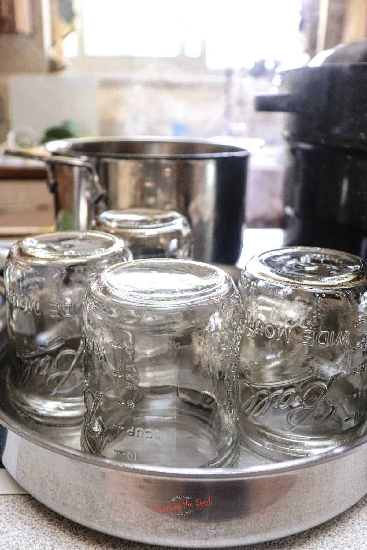 canning jars clean and ready to be heated before the canning process