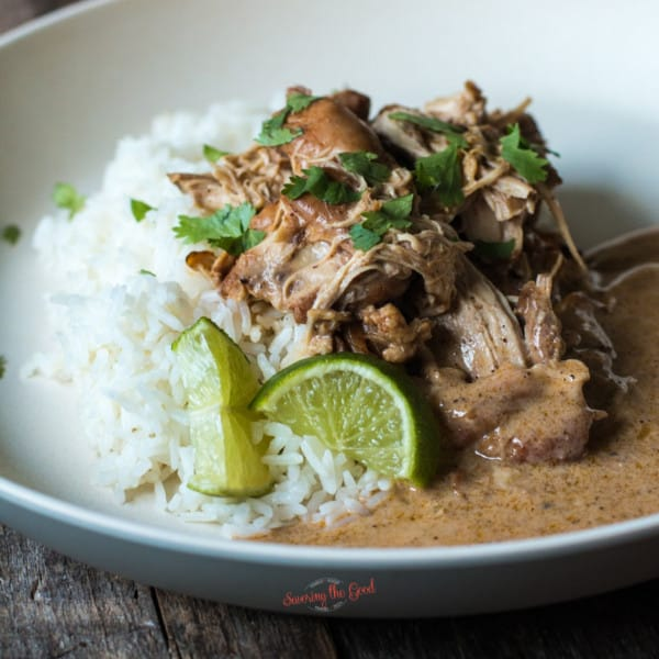 cilantro lime chicken slow cooker with rice and lime garnishes on a plate