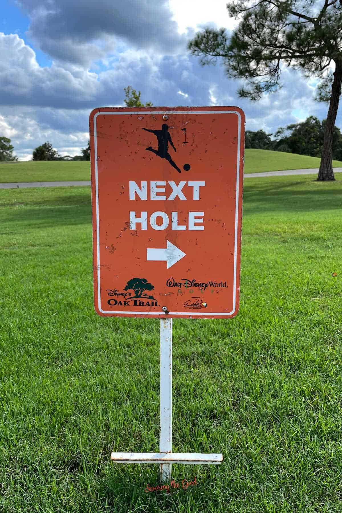 foot golf sign at walt disney world next hole