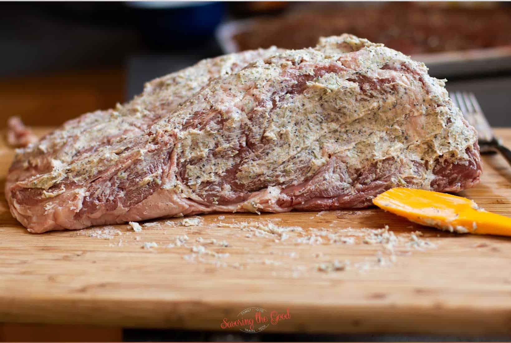 herb butter covered rib roast