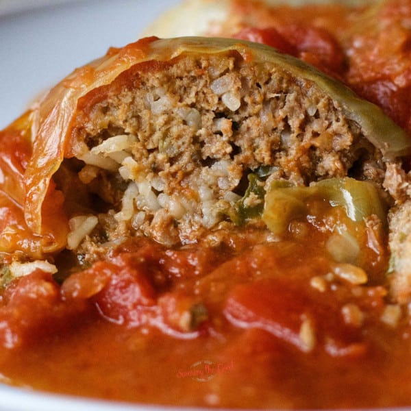 stuffed cabbage roll , tight shot with sauce