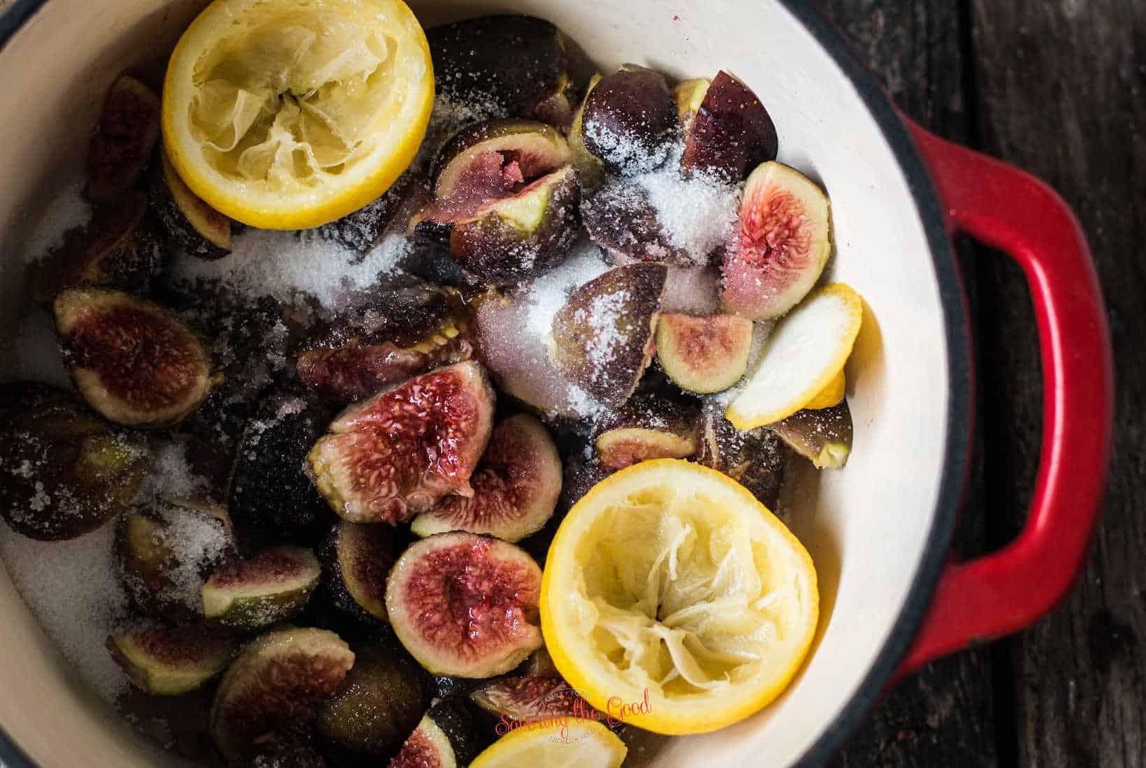 Fig Preserves ingredients in a pan