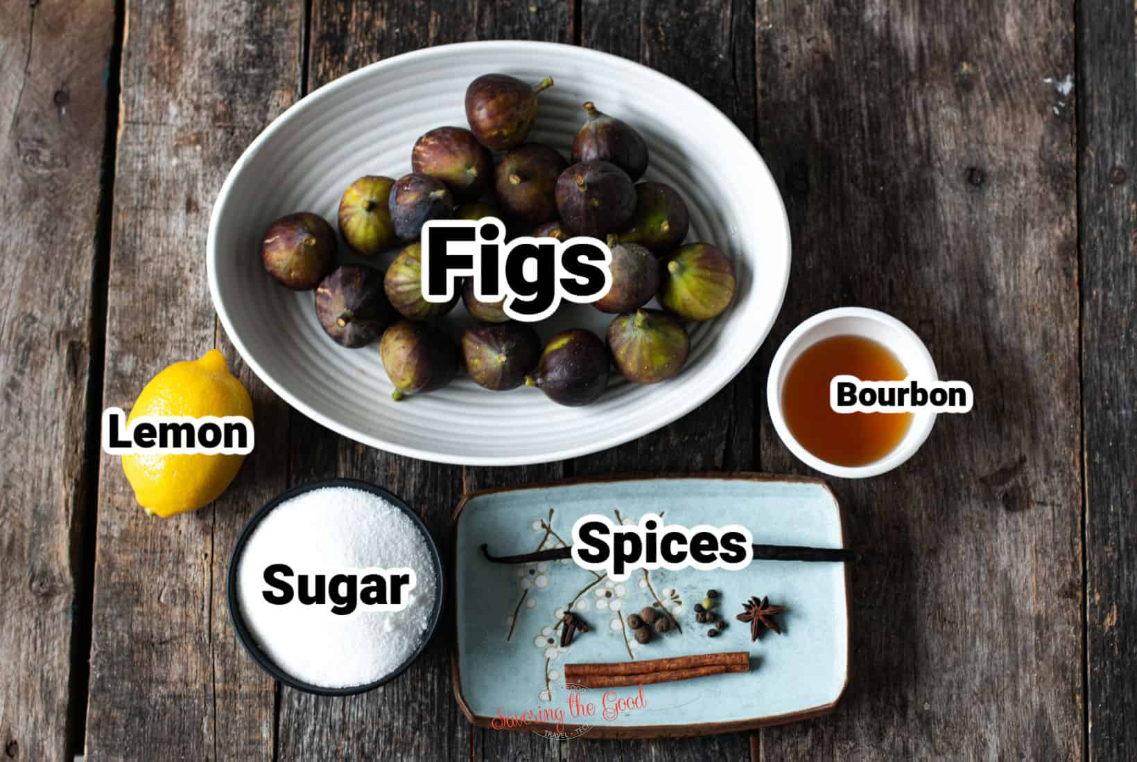 ingredients needed to make preserved figs in bowls, text labeling each item