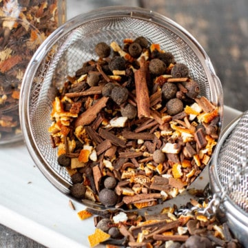 mulling spices in a tea ball
